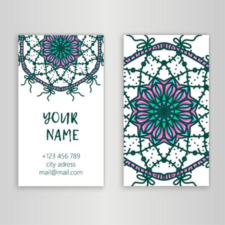 meditation man: Vintage decorative elements. Business Cards. Ornamental floral. Oriental pattern, vector illustration. Islam, Arabic Indian turkish motifs