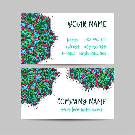 meditation man: Vintage decorative elements. Business Cards. Ornamental floral. Oriental pattern, vector illustration. Islam, Arabic Indian turkish