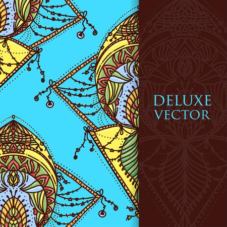 Square invite template. Vector invitation with mandala design element. Round flower ornament. Decorative vintage print. Luxury floral weave