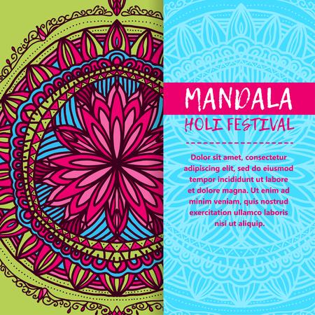 Vector mandala Holi. Happy Holi festival greeting card design with Mandala. Oriental pattern, vector illustration. Islam, Arabic Indian turkish Illustration