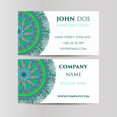 web site design template: Vintage decorative elements. Business Cards. Oriental pattern, vector illustration. Islam, Arabic Indian turkish motifs Illustration