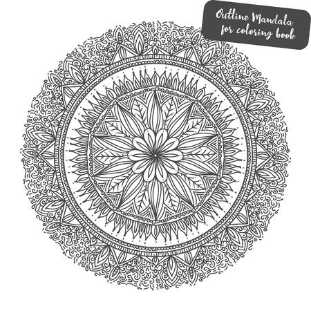 Outline Mandala for coloring book. Decorative round ornament. Weave design element. Yoga logo, background for meditation poster. Unusual flower