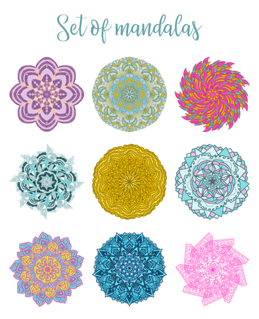Mandala Vector Design Elements. Round ornament decoration. Colorful flower patterns. Illustration
