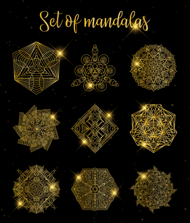 Gold color round abstract ethnic ornament mandalas. Round ornament decoration. Illustration