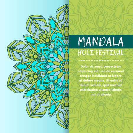 Happy Holi festival greeting card design with Mandala. Oriental pattern, vector illustration. Islam, Arabic Indian turkish Illustration