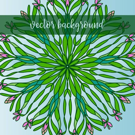 backgrund: Vector nature decor for your design with flowers. Vector round mandala in childish style. Ornamental doodle background Illustration