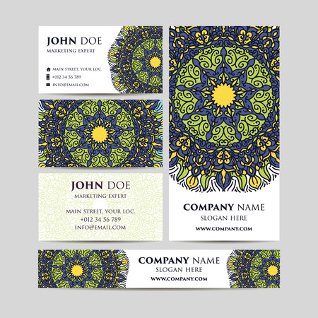web site design template: Big templates set. Business cards, invitations and banners. . Asian, Arabic Indian ottoman motifs