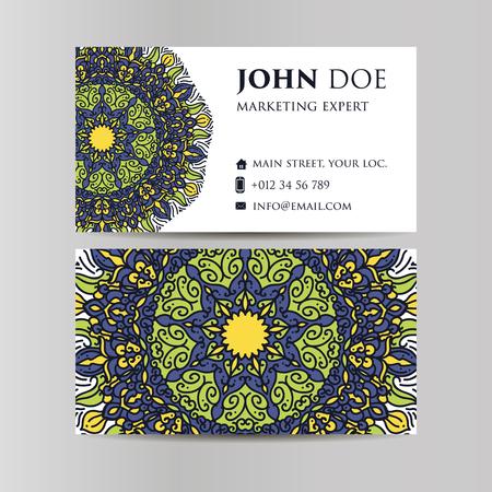 web site design template: Vintage decorative elements. Business Cards. Ornamental floral. Oriental pattern illustration. Islam, Arabic Indian turkish motifs Illustration