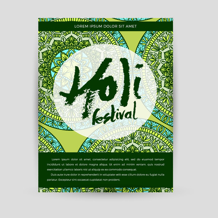 Vector mandala Holi. Happy Holi festival greeting card design with Mandala. Oriental pattern illustration. Islam, Arabic Indian turkish Illustration