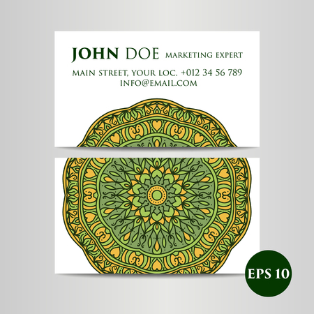 meditation man: Vintage decorative elements. Business Cards. Ornamental floral. Oriental pattern, vector illustration Illustration