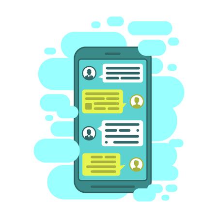 Compose dialogues using samples bubbles. Smart Phone chatting bubbles. Çizim