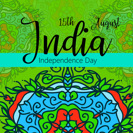 Celebration background for Indian Independence Day with text 15 August, colorful blots Illustration