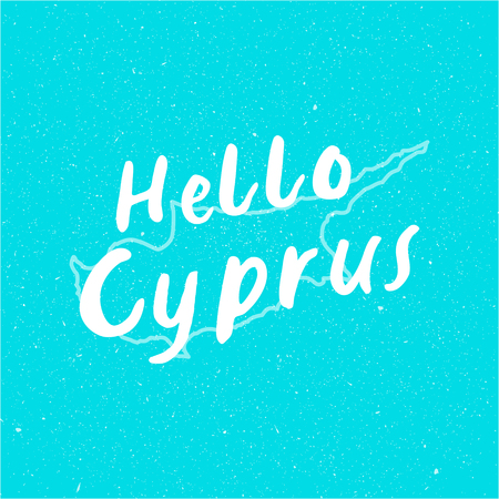 Vector Hello Cyprus Design illustration turquoise