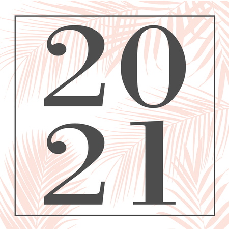 Happy new year 2021 pink Text Design illustration