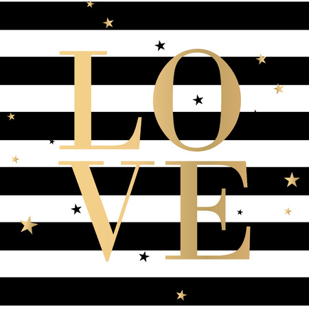 Vector text Love and black stripes gold poster