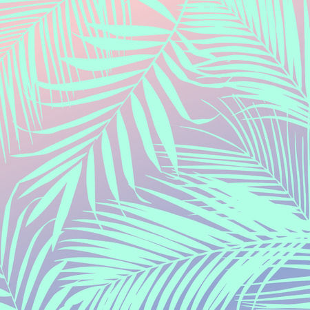Vector tropical leaves on pink background Illusztráció