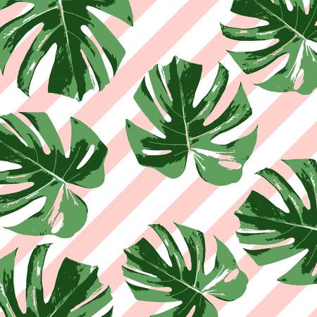 Tropical summer pink background with leaves Ilustração Vetorial