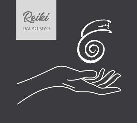Reiki symbol. A sacred sign DAI KO MIO. A hand holds Reiki DAI KO MIO sign on a black background. Alternative medicine. Ilustracje wektorowe