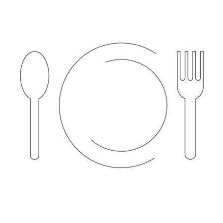 Vector icon of plate, a fork and a spoon Vectores