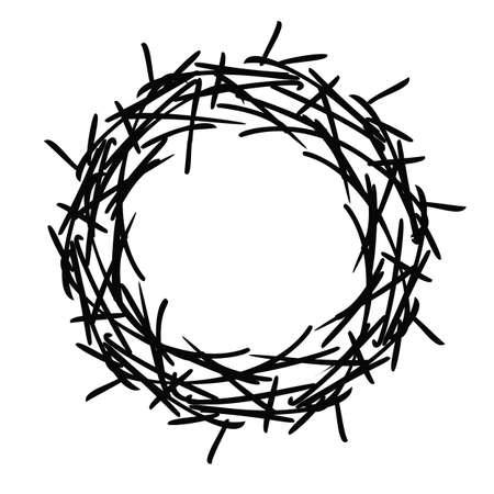 round edgy vector illustration. Crown of thorns. Easter symbol. Christian religious symbol Illusztráció