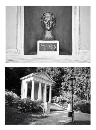 composers: BadenAustria, June 10, 2015: bronze monument to Mozart in Kurpark collage