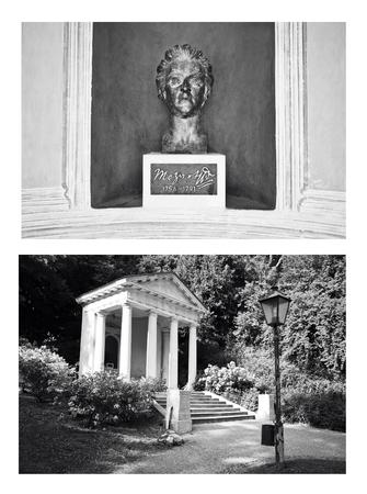 mozart: BadenAustria, June 10, 2015: bronze monument to Mozart in Kurpark collage