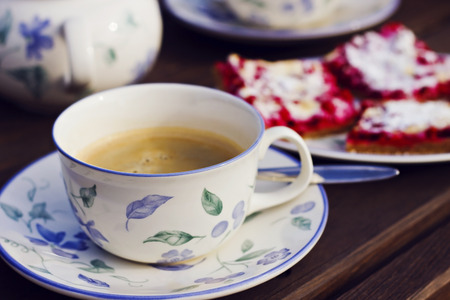 teaset: Still life with coffee and cake