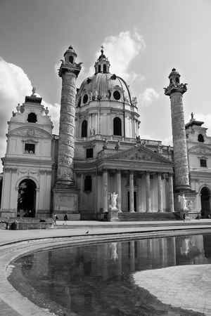 st charles: Church of St. Charles Borromeo Wiener Karlskirche in Vienna, Austria. Black and white photo.