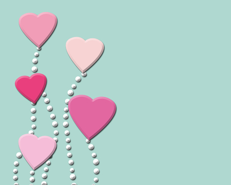 beguin: Happy Valentines day background with pink hearts. Romantic illustration.