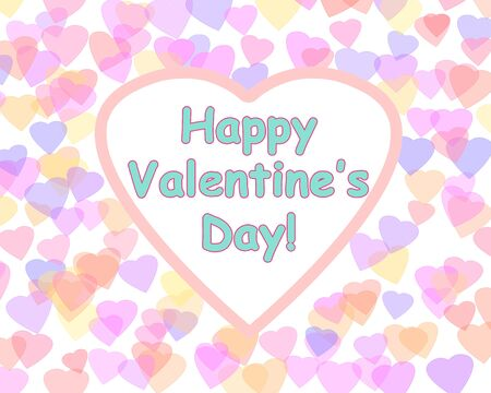 beguin: Happy Valentines day background with color hearts. Romantic illustration. Heart shape frame.
