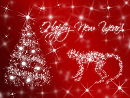 1 2 years: New Year background with christmas tree and monkey. Simbol of New Year 2016 by Chinese calendar. Red fiery Monkey. Stock Photo