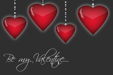 beguin: Happy Valentines day background with red hearts. Romantic illustration with Be my Valentine text. Stock Photo