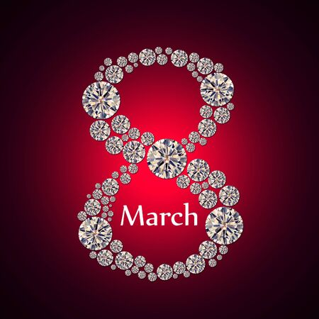 8 march: Background to the International Womens Day with the number 8 of the crystals on a red background. Greeting card on March 8.