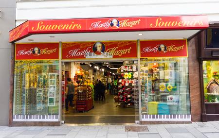 amadeus mozart: VIENNA, AUSTRIA - 22 March 2016: a Mozart themed souvenir shop in Vienna, Austria. Austrain composer Wolfgang Amadeus Mozart died in Vienna in 1791.