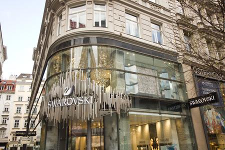 swarovski: Vienna, Austria - 22 March, 2016: Swarovski jewelry shop on Kartner street in Vienna, Austria. Swarovski is an Austrian producer of luxury cut crystal founded at 1895.