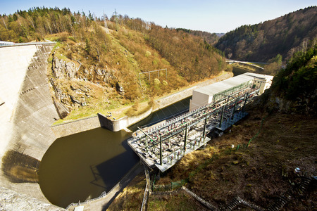 hydroelectric station: Hydro-electric station. Water power plant. The concrete dam on the river.
