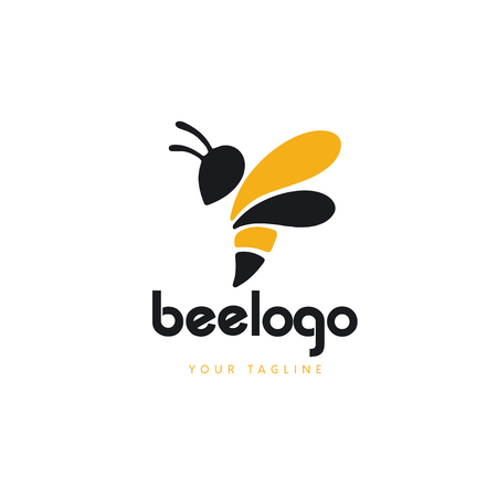 Bee Logo Design Vector illustration.