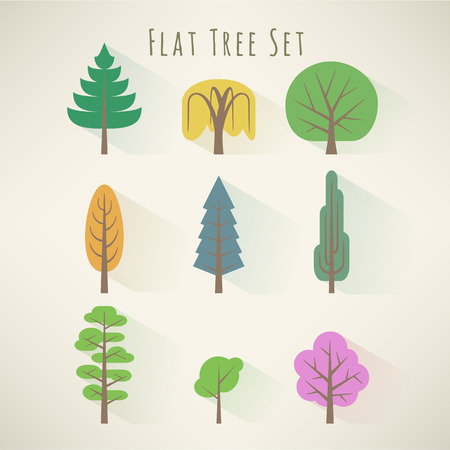 weeping willow tree: Set of nine nordic tree icons in flat style
