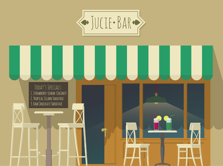 Retro illustration of a street juice bar terrace