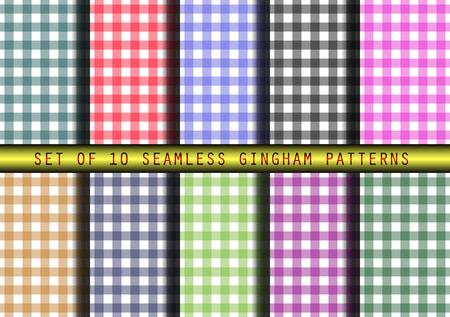 gingham: Set of 12 seamless gingham patterns.