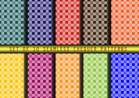 checker: Set of 12 seamless checker patterns. Illustration