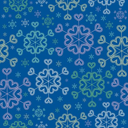 wrap: Seamless gift wrap pattern. Snowflakes of hearts, blue background.