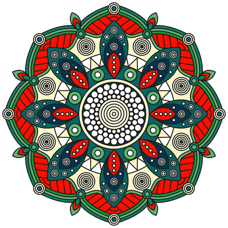Mandala pattern in red, green, teal, blue, pale yellow & white. Oriental floral ornament for ethnic prints, mural art, wall decals & stickers.