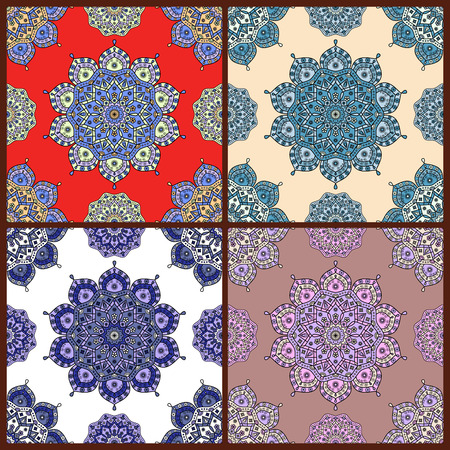 scrollwork: Set of four seamless prints of ornamental pattern. Floral tapestry ornaments with motifs of traditional Oriental decorative arts.