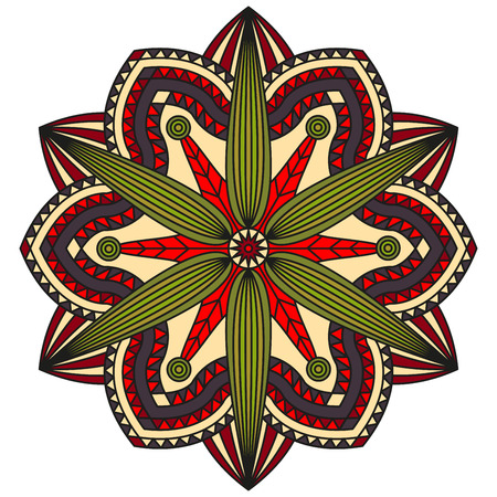 Floral mandala pattern in shades of red, green, pale yellow & faded purple. Illustration