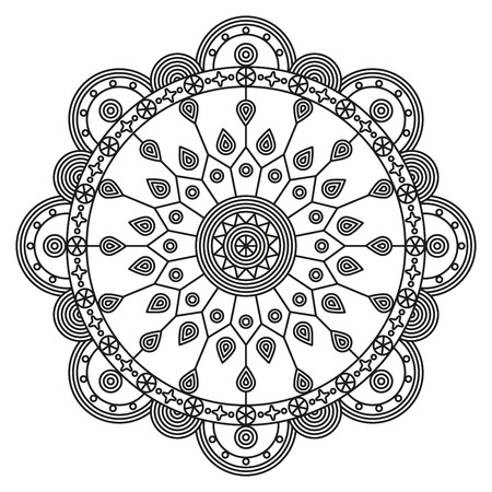 Mandala ornament, black on white. Round pattern print for tattoo, coloring book pages, wall decals & murals. Illustration