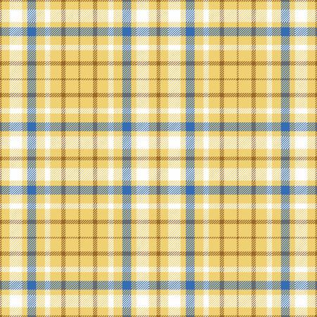 黄金の砂黄色 undercheck 背景に白、青・茶色ツイル ストライプのシームレスなタータン格子縞のパターン。  イラスト・ベクター素材