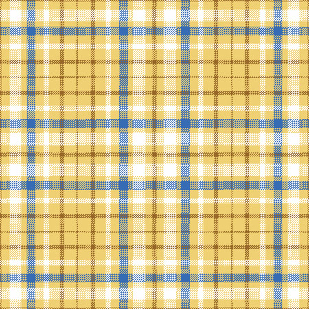Seamless tartan plaid pattern in white, blue & brown twill stripes on golden sand yellow undercheck background.