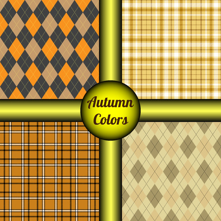 Set of four seamless patterns in autumn color palette. Classic vector prints of tartan plaid and argyle textile design in tones of orange, yellow, gray, white, brown & black. Illustration