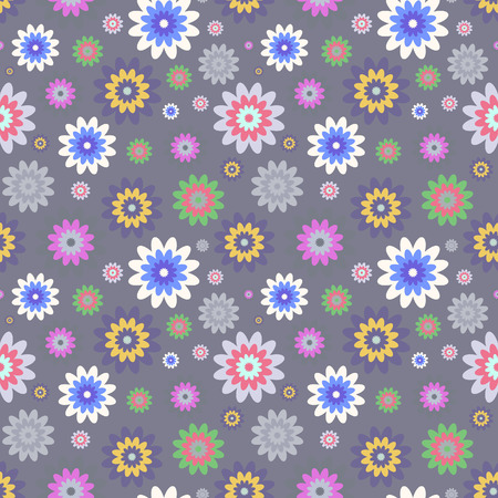 calico: Seamless floral pattern of colorful flower elements on dark grey background.